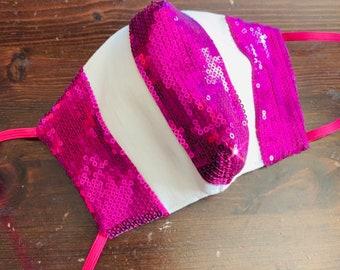 Violet Sequin Mask with Filter Pocket  - PM2.5 filter included