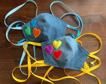 PM 2.5 filter included -Childs Denim Puffy Hearts Mask with Filter Pocket - Made in the USA- No Center Mask Seam