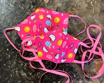 PM2.5 filter included - Hello Kitty Sunshine & Rain with Filter Pocket - Made in the USA- No Center Mask Seam