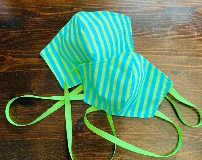 PM2.5 filter included - Lime and Teal Stripe Mask with Filter Pocket- No Center Mask Seam