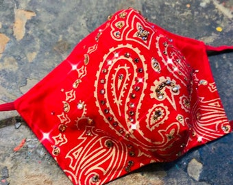 Gold and RED Bandana Crystal Mask with Filter Pocket - PM 2.5 filter included- No Center Mask Seam