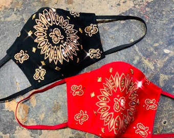 Bandana Swarovski Crystal Mask with Filter Pocket - PM 2.5 filter included - No Center Mask Seam