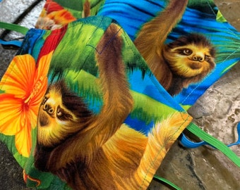 Tropical Sloth Mask with Filter Pocket - PM2.5 Filter Included - Made in the USA- No Center Mask Seam