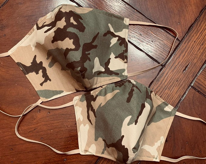 Traditional Green Camouflage Mask with Navy Filter Pocket - PM2.5 filter included