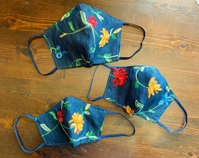 Embroidered Denim Mask with Filter Pocket  - PM2.5 filter included  - Made in the USA- No Center Mask Seam