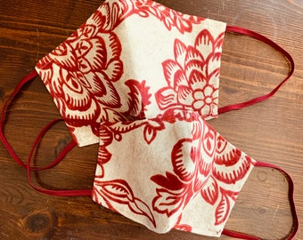 Deep Red & Natural Floral Mask with Filter Pocket - PM 2.5 filter included - Made in the USA- No Center Mask Seam