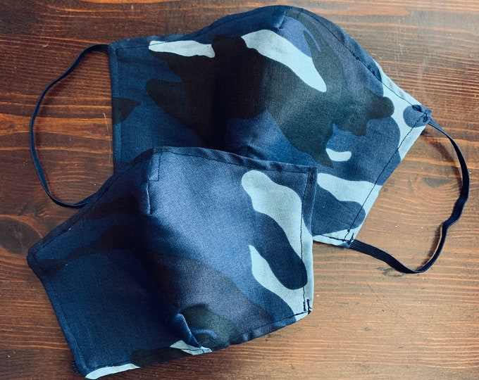 PM2.5 filter included - Blue Camouflage Mask with Navy Filter Pocket- No Center Mask Seam
