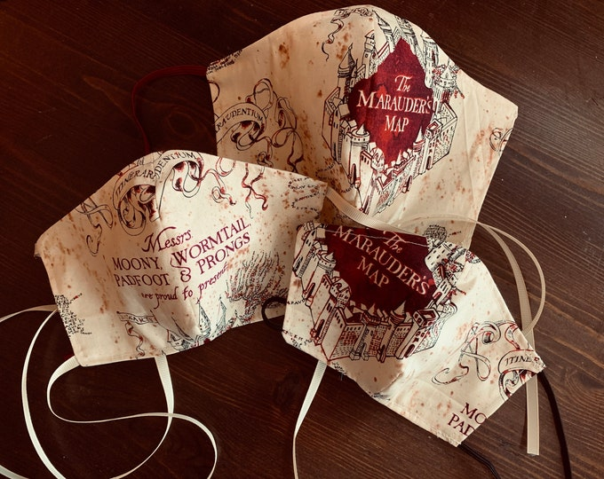 Harry Potter Mask with Filter Pocket - Marauders Map Mask- PM2.5 filter included- No Center Mask Seam