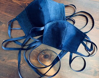 PM2.5 filter included - Two Tone Thick Denim Stripe Mask with Filter Navy Pocket