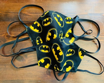 PM 2.5 filter included - Batman Logo on Black Mask with Filter Pocket (Rare Fabric)- Made in the USA- No Center Mask Seam