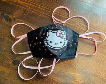 Swarovski Hello Kitty Crystal Mask with Filter Pocket - PM 2.5 filter included - Hello Kitty Mask - No Center Mask Seam