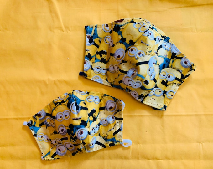 PM2.5 filter included - MINIONS Despicable Me Mask with Yellow Filter Pocket - Made in the USA- No Center Mask Seam