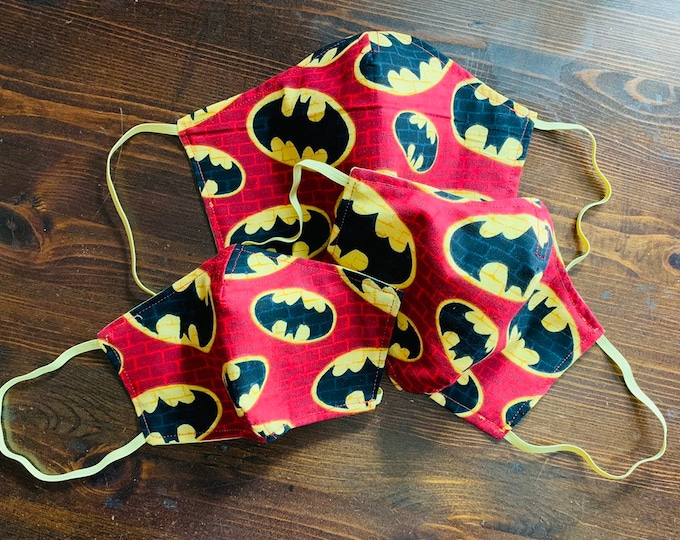 PM 2.5 filter included - Red Brick Batman Logo Mask with Filter Pocket (Rare Fabric)- Made in the USA- No Center Mask Seam