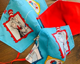 Dr. Seuss Mask with Filter Pocket - PM 2.5 filter included - Made in the USA- No Center Mask Seam