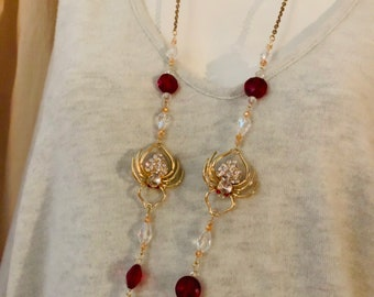 Red & Gold Crystal Spider Mask Chain -Mask Lanyard