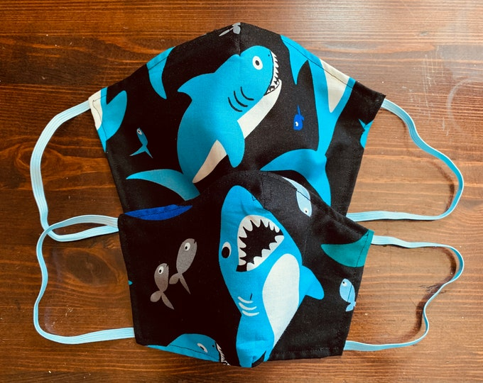 PM 2.5 filter included -Hungry Shark Mask with Filter Pocket - Made in the USA- No Center Mask Seam
