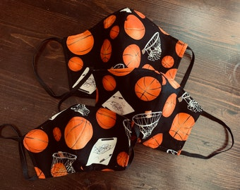 PM 2.5 filter included -Basketball Fan Mask with Filter Pocket - Made in the USA- No Center Mask Seam