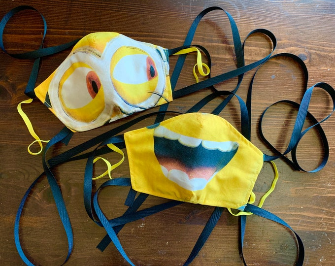 RARE KIDS Minions Mask with Yellow Filter Pocket - Despicable Me Mask- Minion Face Mask- PM 2.5 filter included