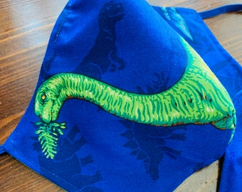 Brontosaurus Dinosaur Mask with Filter Pocket  - PM2.5 filter included
