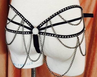 Burlesque Showgirl - Velvet, Crystal ,Leather, and Chains- Burlesque Showgirl Cage G String