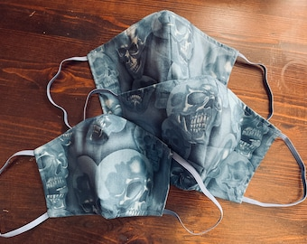 PM2.5 filter included - Skulls on Blue Grey Mask with Filter Pocket - Made in the USA- No Center Mask Seam