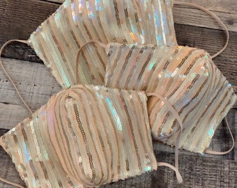 Spring Stripe Sequin Mask with Filter Pocket - 3 Layers - PM2.5 filter included