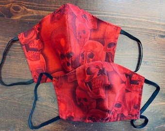 PM2.5 filter included - Black Skulls on Crimson Mask with Filter Pocket - Made in the USA- No Center Mask Seam