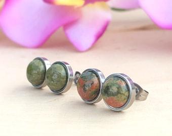Earrings-Spotted Dalmation Jasper Earrings-Short Drop Dangle Post Earrings-Gemstones on Sterling-Less Than One Inch-Beige and Black Earrings