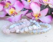 Calming Bracelet Stack, 3 Gemstone Bracelet Stack, Rose Quartz Bracelet, Matte Howlite Bracelet, Opalite Beaded Bracelet, Gift With Meaning