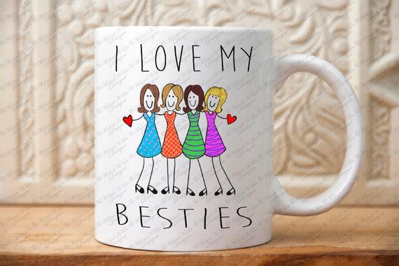 Christmas Present Ideas For Best Friends Girl.I Love My Besties Mug Best Girl Friend Gift Group Gift For Besties Friends Christmas Gift Mugs Holiday Present For Girl Friends