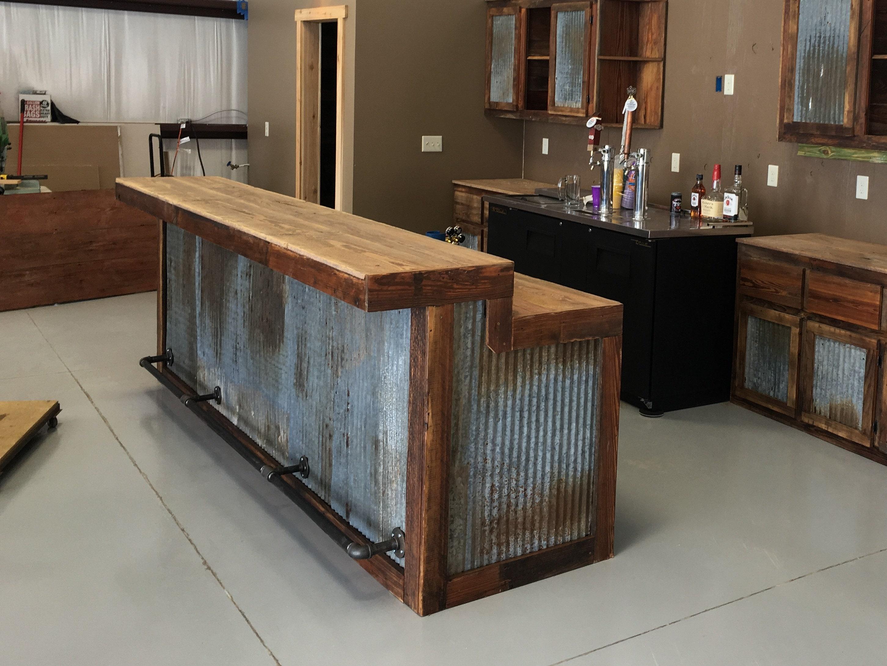 Large Rustic Barnwood Bar Etsy