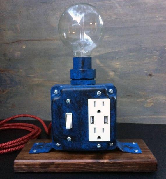 Industrial Desk Lamp Usb Charging Station Tesla Lamp Etsy