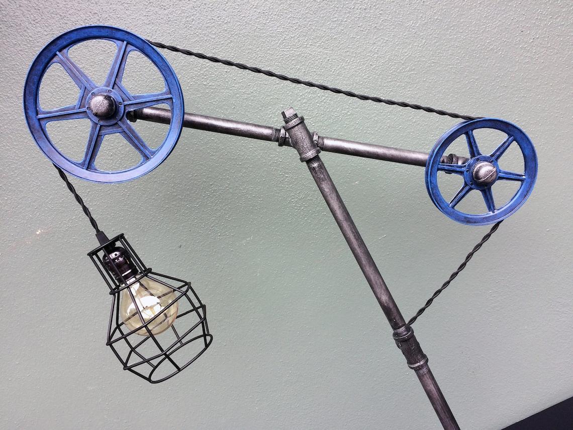 Industrial Lamp / Edison Lamp / Pipe Lamp / Steampunk / Pulley Lamp / Distressed Copper / Tesla Lamp / Desk Lamp / Edison Light / Home Decor