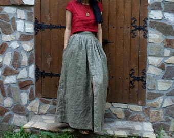 Khaki Linen Skirt, Handmade Skirt, Natural Fabric, Summer skirt, Wide woman skirt, Sustainable fashion, Ethical closet, Slow fashion