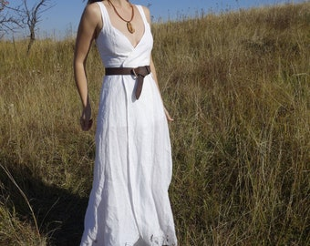 White Linen Dress, Wrap Dress, Handmade Dress, Natural Fabric, Sustainable fashion, Ethical closet, Slow fashion