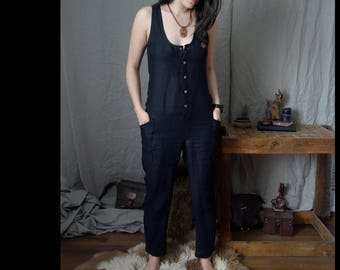 Linen Jumpsuit, Long Jumpsuit with Wooden Buttons, Sustainable, Ethical, Slow