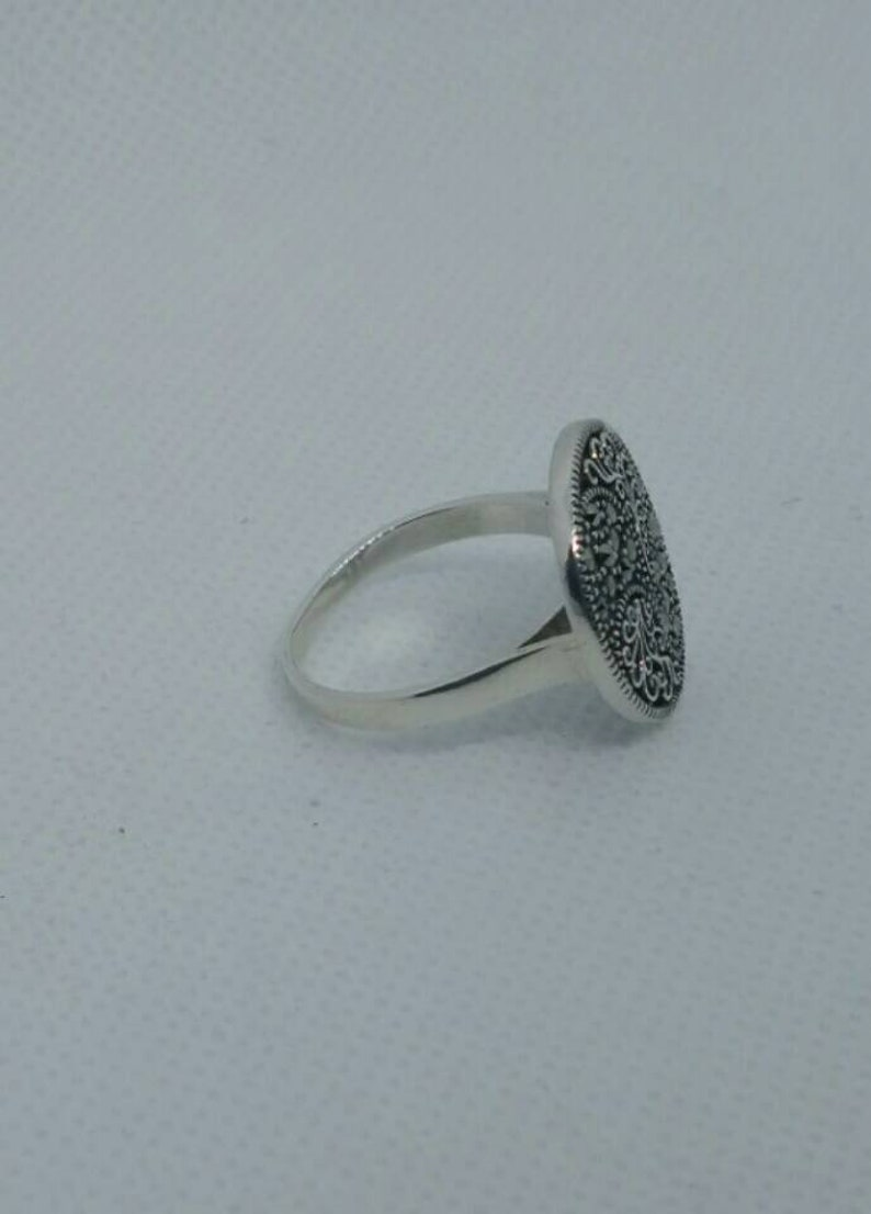 Gemstone 5.2gr Oxidized Sterling Jewelry,Rings,Free Shipping Jewelry Marcasite Ring,Art Deco Ring Art Deco Sterling-Vintage Style Jewelry