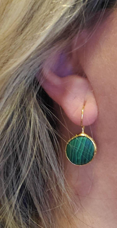 Handmade Jewelry,Antique Gold Malachit Earring,Gold Filled Earring,Green Drop Earring,Round Malachite Earring,Antique Gold Jewelery,Earrings