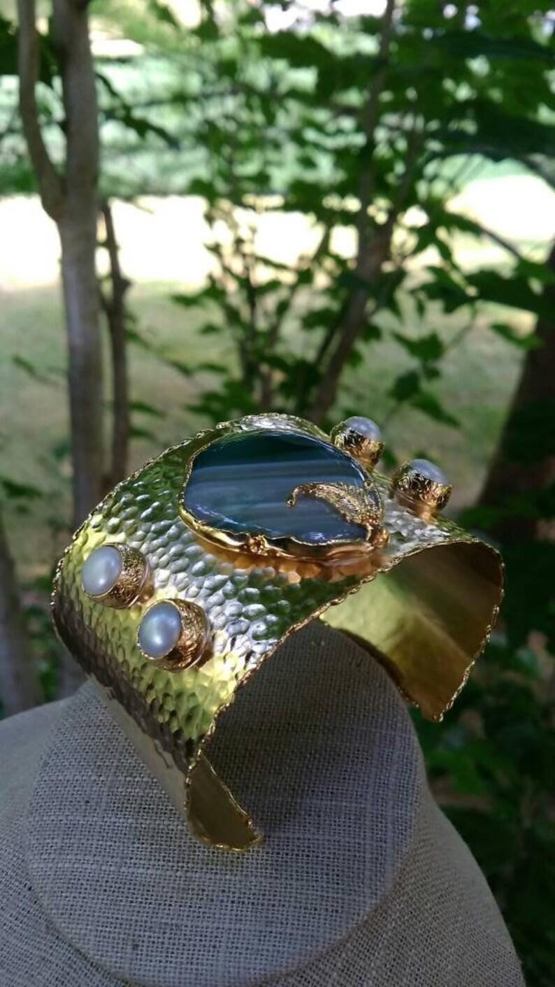 Gold Bracelet,Handmade Jewelry,Multi Color Stone Wide Bracelet,14K Gol Filled Bracelet,Gold Cuff Bracelet,Antique Gold Bracelet,Agate Bangle