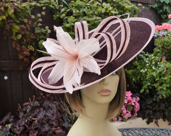 696eac18 MADE TO ORDER - maroon - pink - hat - wedding - Mother of the bride - Ascot  - races - fascinator - headpiece - hatinator - wine - burgundy