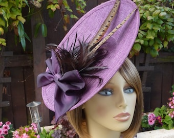 7b4d282f MADE TO ORDER - plum - brown - fascinator - Mother of the bride - wedding -  Ascot - races - hatinator - headpiece - hat - pheasant - purple