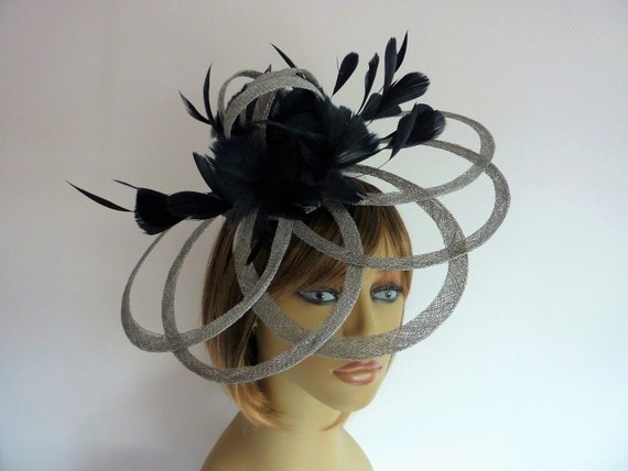 MADE TO ORDER navy blue silver wedding fascinator  a0927049b14