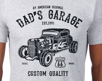 87ff8b2a5 Dad's Garage American Hot Rod Customize w/ any name mechanic classic car  guy gift Grandpa Dad Father's Day Gift Men's Unisex T-Shirt