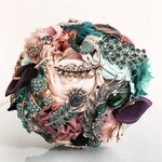 Peacock turqouise purple green blue alternative fabric and brooch antique handmade bridal wedding flower bouquet