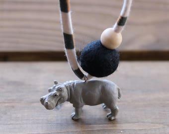 Hippo 1 - Children's Felt Ball Safari Animal Necklace