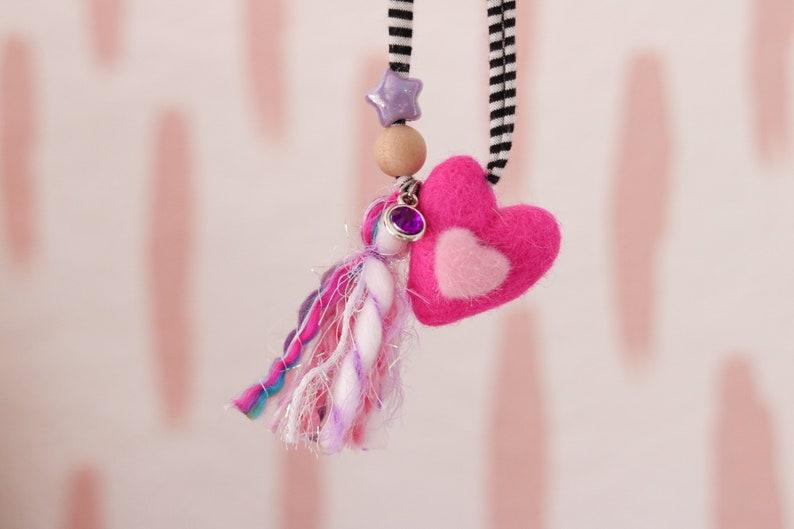 Pink Heart 4  Childrens Felt Valentines Necklace image 0