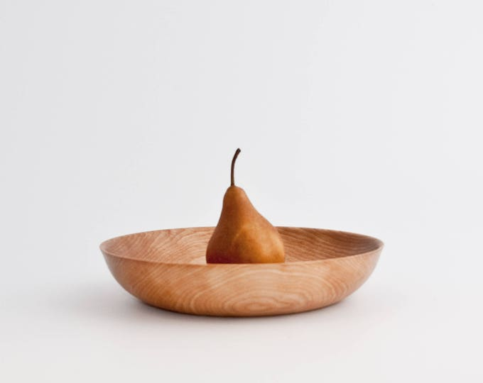 Wooden shallow bowl
