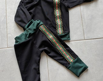 a6a641c43b74 Baby boys clothing Gucci inspired sweater Gucci inspired Pants baby boy  matching Outfit Black and Green Designer set unisex