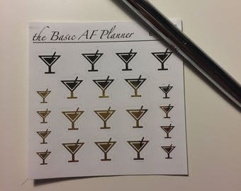 "FOILED Martini Glasses ""Shots Everybody!"" 