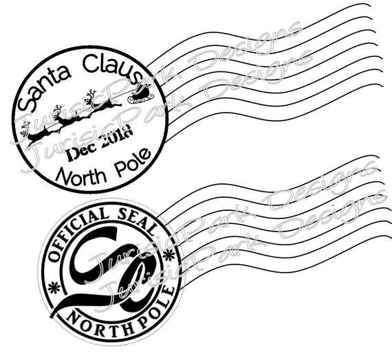 Christmas Santa 2018 Stamp North Pole Postage Png Jpeg